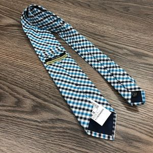 Jos A Bank NWT Teal, White & Navy Plaid Tie